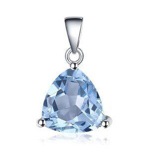 1.75ct Trillion Swiss Blue Topaz Silver Pendant